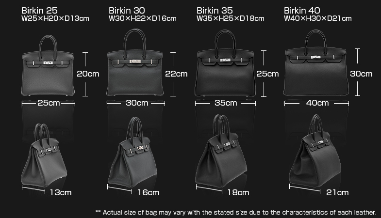 Birkin25:W25×H20×D13cm Birkin30:W30×H22×D16㎝ Birkin35:W35×H25×D18cm Birkin40:W40×H30×D21cm ** Actual size of bag may vary with the stated size due to the characteristics of each leather.