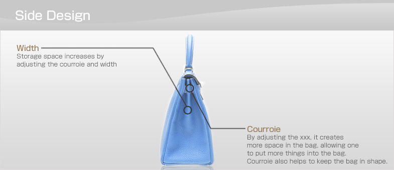 Side Design Courroie:By adjusting the xxx, it creates more space in the bag, allowing one to put more things into the bag. Courroie also helps to keep the bag in shape.
