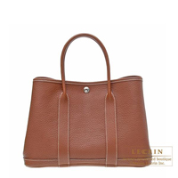 Hermes Garden Party bag TPM Marron Negonda leather Silver hardware