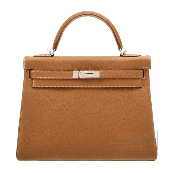 Hermes Kelly bag 32 Retourne Gold Togo leather Silver hardware