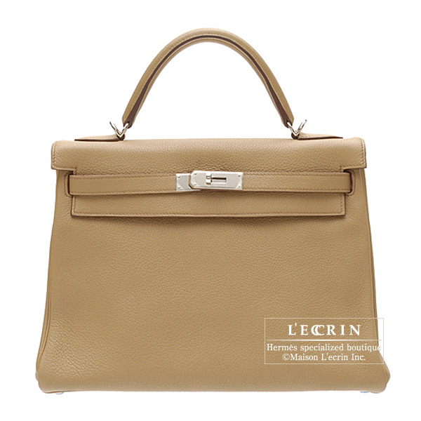 Hermes Kelly bag 32 Retourne Tabac camel Clemence leather Silver hardware