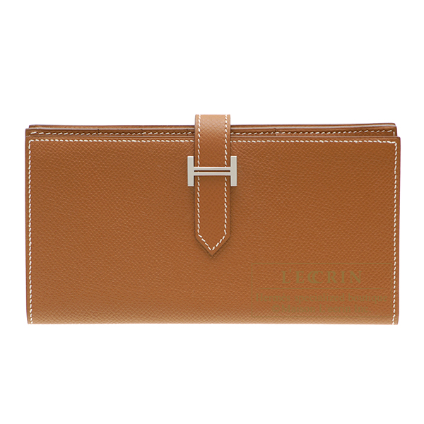 Hermes Bearn Soufflet Gold Epsom leather Silver hardware