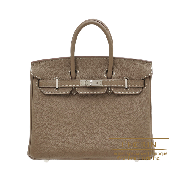 Hermes Birkin bag 25 Etoupe grey Togo leather Silver hardware