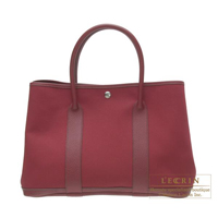 Hermes Garden Party bag PM Rouge imperial Cotton canvas Silver hardware