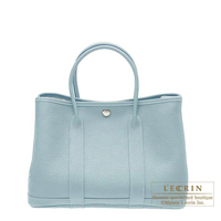 Hermes Garden Party bag TPM Ciel Negonda leather Silver hardware