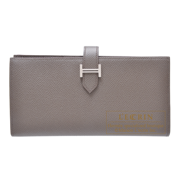 Hermes Bearn Soufflet Etain Epsom leather Silver hardware