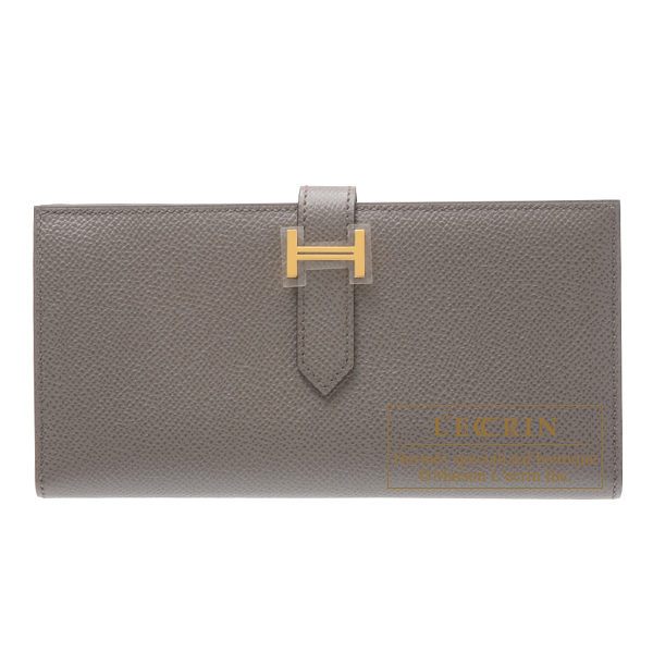 Hermes Bearn Soufflet Etain Epsom leather Gold hardware