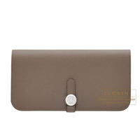 Hermes Dogon Long Taupe grey Evercolor Matt silver hardware