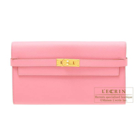 Hermes Kelly wallet long Rose confetti Epsom leather Gold hardware
