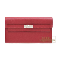 Hermes Kelly wallet long Ruby Epsom leather Silver hardware