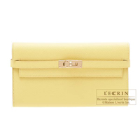 Hermes Kelly wallet long Jaune poussin Epsom leather Champagne gold hardware