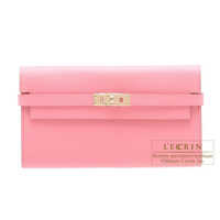 Hermes Kelly wallet long Rose confetti Epsom leather Champagne gold hardware