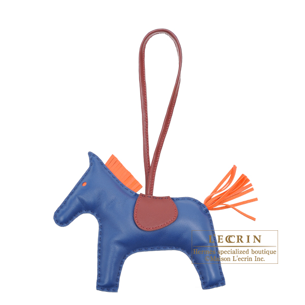 Hermes Rodeo charm GM Blue de malte/ Orange poppy Agneau