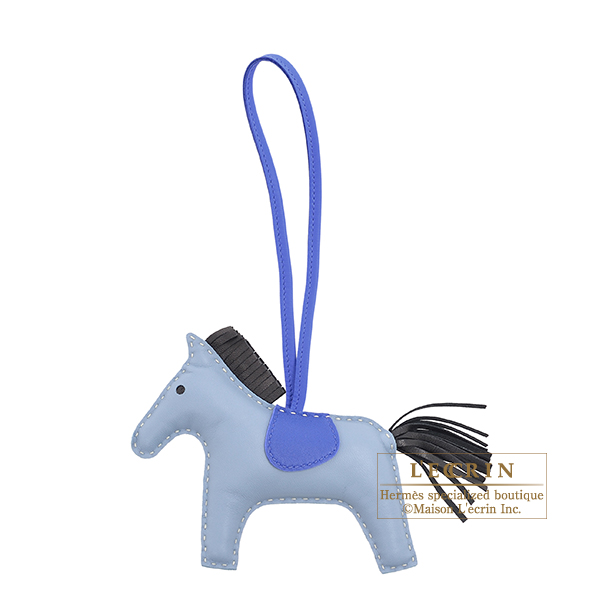 Hermes Rodeo charm MM Blue lin/Black Agneau