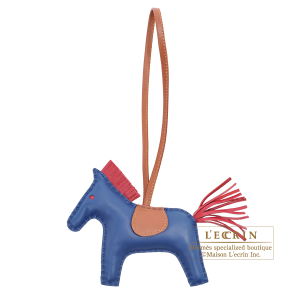 Hermes Rodeo charm MM Blue de malte/ Ruby Agneau