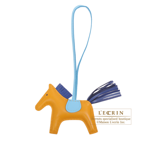 Hermes Rodeo charm PM Naturel buton d'or/ Blue saphir Agneau