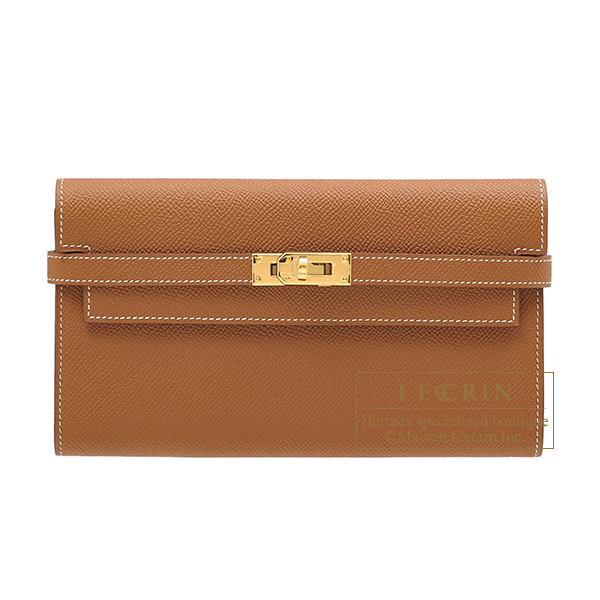 Hermes Kelly wallet long Gold Epsom leather Gold hardware