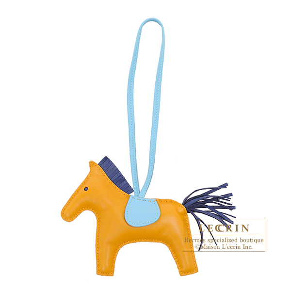 Hermes Rodeo charm MM Naturel buton d'or/ Blue saphir Agneau