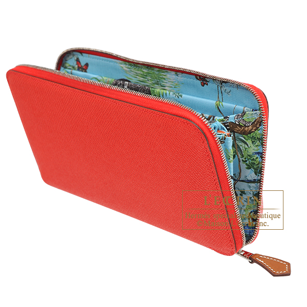 Hermes Azap Silk'In Rouge coeur/ Blue du nord Epsom leather/ Silk Silver hardware