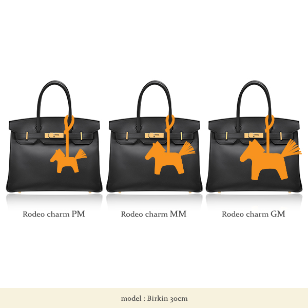 Hermes Rodeo charm PM Black/Gold Agneau