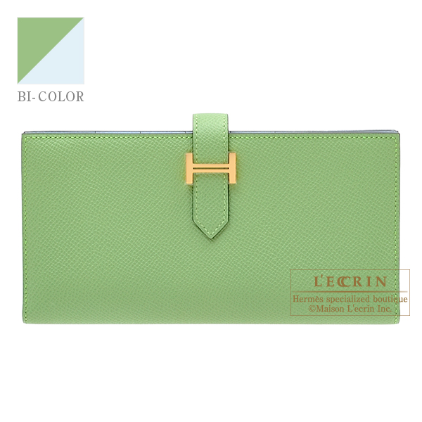 Hermes Bearn Soufflet Verso Vert criquet/ Blue brume Epsom leather Gold hardware