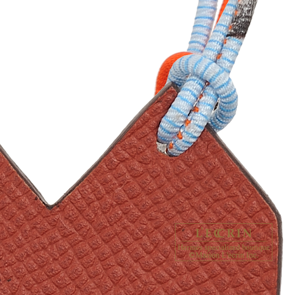 Hermes Petit H Heart Charm Grey/Brown Clemence leather/Epsom leather