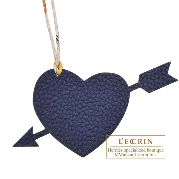 Hermes Petit H Pierced Heart Navy/ Dark brown Clemence leather/ Epsom leather