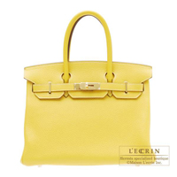 Hermes Personal Birkin bag 30 Jaune/Tabac camel Clemence leather Gold hardware