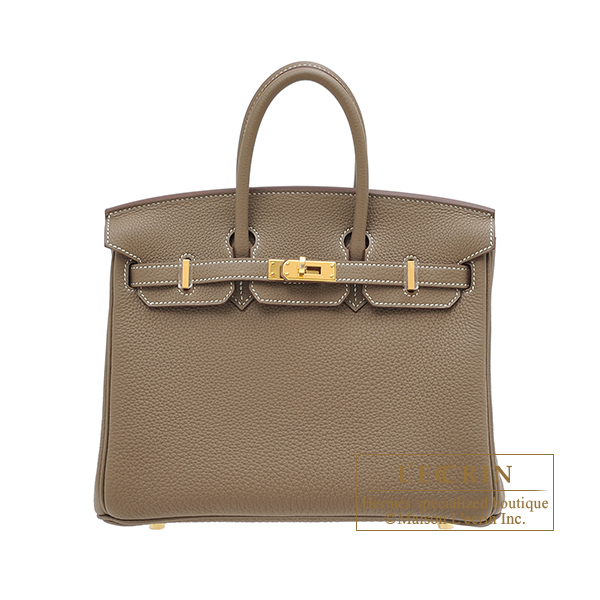Hermes Birkin bag 25 Etoupe grey Togo leather Gold hardware