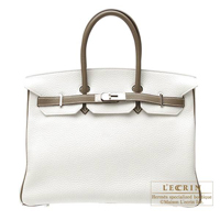 Hermes Personal Birkin bag 35 White/Etoupe grey Clemence leather Silver hardware