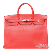 Hermes Birkin bag 40 Bougainvillier Clemence leather Silver hardware