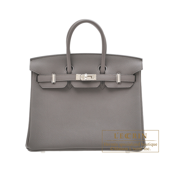 Hermes Birkin bag 25 Etain Togo leather Silver hardware