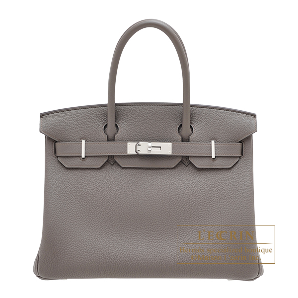 Hermes Birkin bag 30 Etain Togo leather Silver hardware