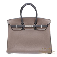 Hermes Personal Birkin bag 35 Etoupe grey/Graphite Togo leather Silver hardware