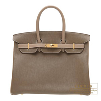 Hermes Personal Birkin bag 35 Etoupe grey/Gris tourterelle Clemence leather Gold hardware