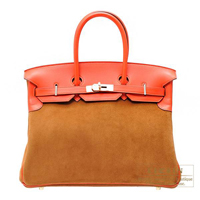 Hermes Birkin bag 35 Capucine/ Chamois Swift leather/ Grizzly leather Champagne gold hardware