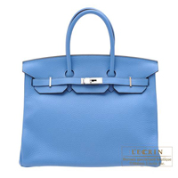 Hermes Birkin bag 35 Blue paradise Clemence leather Silver hardware
