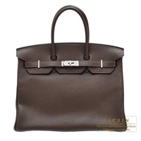 Hermes Birkin bag 35 Cacao Clemence leather Silver hardware