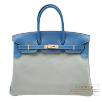 Hermes Birkin bag 35 Ciel/Blue de galice Grizzly leather/Evercolor leather Champagne gold hardware