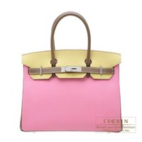 Hermes Personal Birkin bag 30 Pink/Jaune poussin/Etoupe grey Epsom leather Matt silver hardware