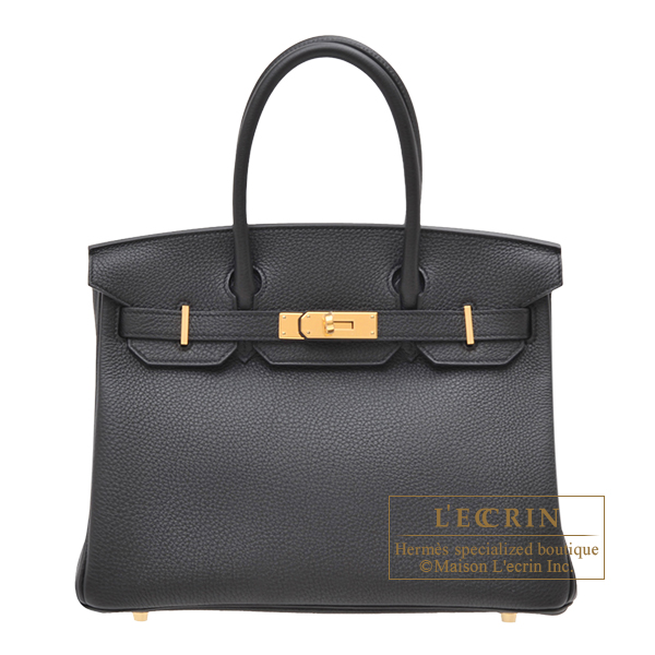 Hermes Birkin bag 30 Black Togo leather Gold hardware