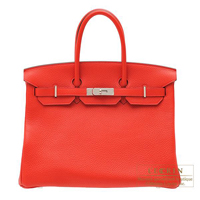 Hermes Birkin bag 35 Rouge tomate Clemence leather Silver hardware