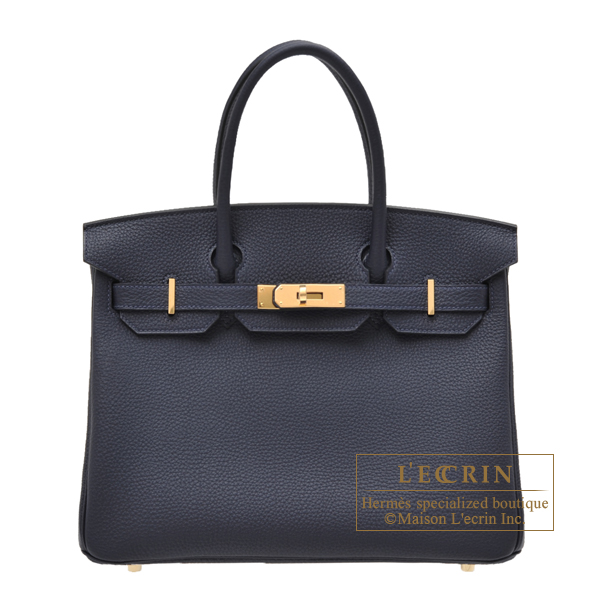Hermes Birkin bag 30 Blue nuit Togo leather Gold hardware