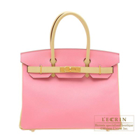 Hermes Personal Birkin bag 30 Rose confetti/ Jaune poussin Epsom leather Gold hardware