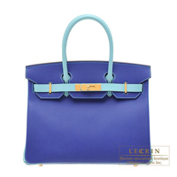 Hermes Personal Birkin bag 30 Blue electric/ Blue atoll Epsom leather Gold hardware