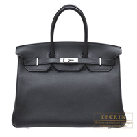 Hermes Birkin bag 35 Black Novillo leather Silver hardware