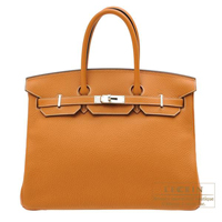 Hermes Birkin bag 35 Toffee Clemence leather Silver hardware