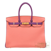 Hermes Personal Birkin bag 35 Rose candy/ Anemone Togo leather Gold hardware