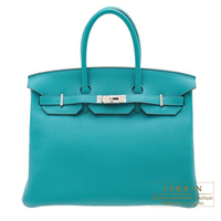 Hermes Birkin bag 35 Blue paon Clemence leather Silver hardware
