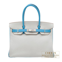 Hermes Personal Birkin bag 30 Pearl grey/ Turquoise blue Chevre myzore goatskin Silver hardware